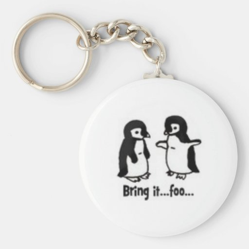 Funny penguins basic round button key ring