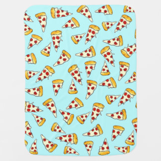 Funny pepperoni pizza pattern sketch on teal baby blanket