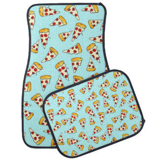 Funny pepperoni pizza pattern sketch on teal car mat