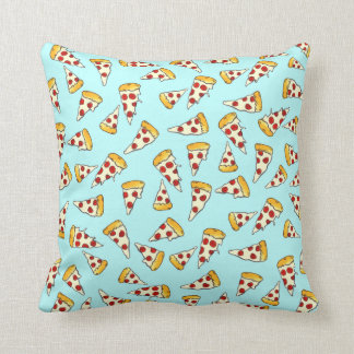 Funny pepperoni pizza pattern sketch on teal cushion