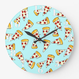 Funny pepperoni pizza pattern sketch on teal large clock