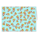 Funny pepperoni pizza pattern sketch on teal note card