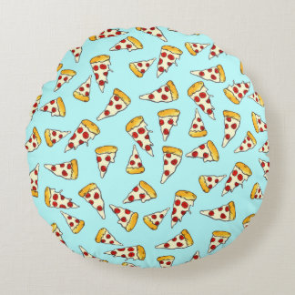 Funny pepperoni pizza pattern sketch on teal round cushion