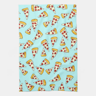 Funny pepperoni pizza pattern sketch on teal tea towel