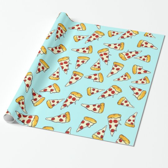 Funny pepperoni pizza pattern sketch on teal wrapping