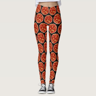 Funny pepperoni pizza print workout leggings