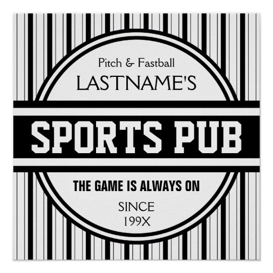 Funny Personalised Custom Bar Sign Sports Pub Poster