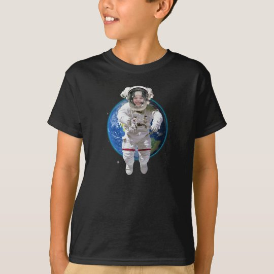 Funny Personalised Kids Photo Astronaut T-Shirt