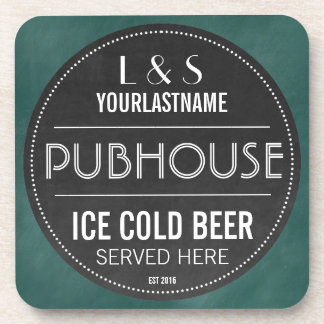 Funny Personalised Pubhouse Chalkboard Sign Beverage Coaster