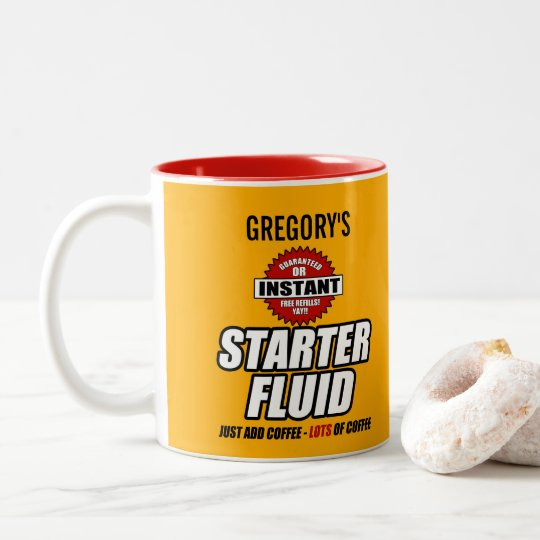 Funny Personalised Starter Fluid Two-Tone Coffee Mug