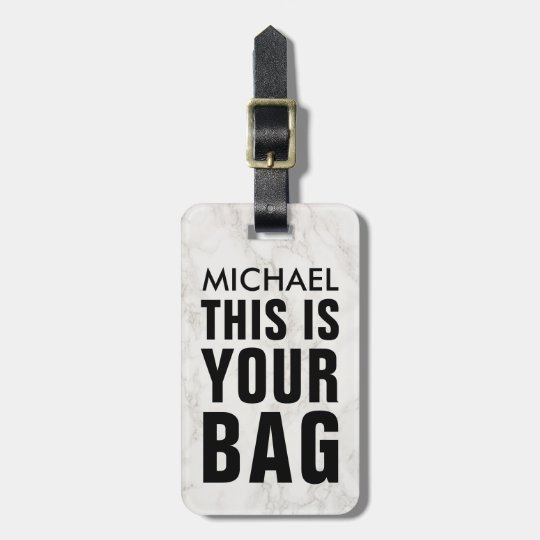 FUNNY PERSONALIZED BAG ATTENTION MASCULINE MARBLE LUGGAGE TAG
