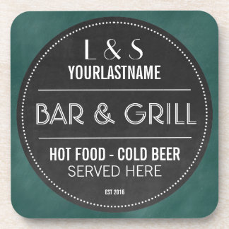 Funny Personalized Bar and Grill Chalkboard Sign Coaster