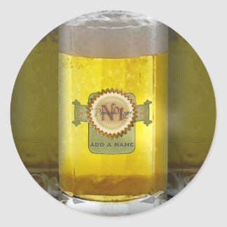 Funny Personalized Beer Glass Round Sticker