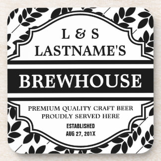 Funny Personalized Brewhouse for Home Brewer Beverage Coasters