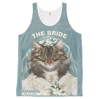 Funny personalized cat bride All-Over print tank top