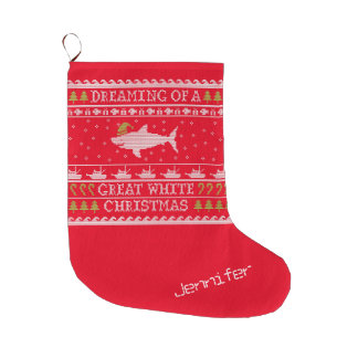 Funny Personalized Dreaming of Great White Shark Large Christmas Stocking