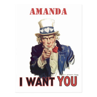 Funny personalized I want you Postcard