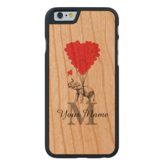 Funny personalized romantic elephant carved cherry iPhone 6 case