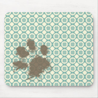 Funny Pet Blue-Green Cream Floral Mousepads