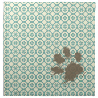 Funny Pet; Blue-Green & Cream Floral Napkin