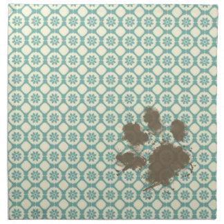 Funny Pet; Blue-Green & Cream Floral Printed Napkins