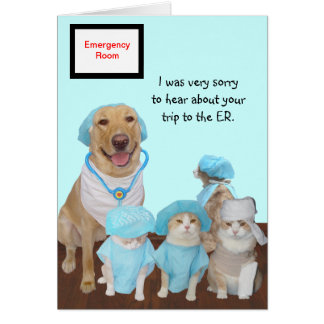 Funny Pets Get Well ER Greeting Card