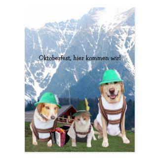 Funny Pets Oktoberfest Postcard