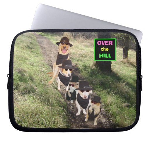 Funny Pets Over the Hill Laptop Sleeve