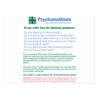 Funny Pharmaceutical Medication Ad Post Card