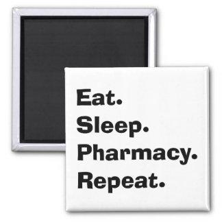"Funny Pharmacist Gifts ""Eat, Sleep, Pharmacy..."" Square Magnet"