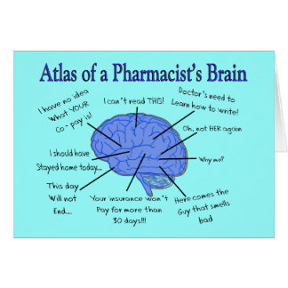 Funny Pharmacist s Brain Gifts Greeting Cards