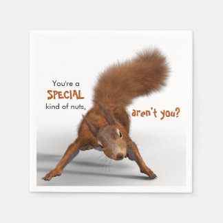 Funny Photo of Red Squirrel | Special Kind of Nuts Disposable Napkins