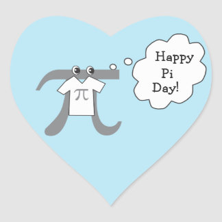 Funny Pi Guy - Happy Pi Day Heart Sticker
