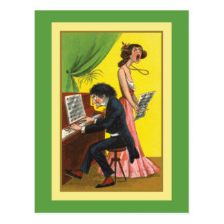 Funny Pianist and Singer Postcard
