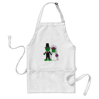 Funny Pickle Bride and Groom Wedding Art Apron