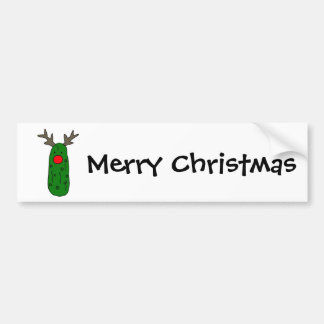 Funny Pickle Christmas Reindeer Cartoon Bumper Sticker