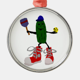 Funny Pickle Holding Pickleball and Paddle Silver-Colored Round Decoration
