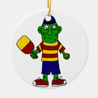 Funny Pickle Holding Pickleball Paddle and Ball Round Ceramic Decoration