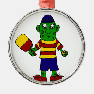 Funny Pickle Holding Pickleball Paddle and Ball Silver-Colored Round Decoration