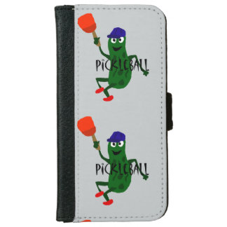 Funny Pickle Playing Pickleball iPhone 6 Wallet Case