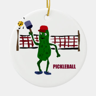Funny Pickle Playing Pickleball with Net Art Round Ceramic Decoration