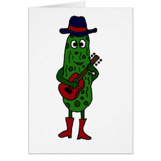 Funny Pickle Playing Red Guitar Card