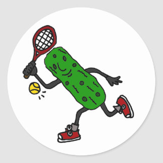Funny Pickle Playing Tennis Art Round Sticker