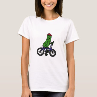 Funny Pickle Riding Bicycle Cartoon T-Shirt