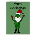 Funny Pickle Santa Claus Christmas Design Card