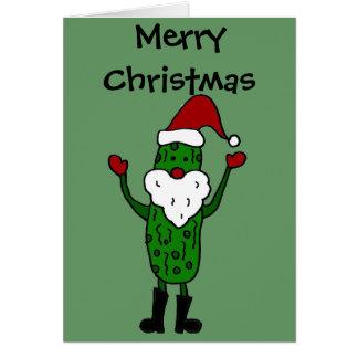 Funny Pickle Santa Claus Christmas Design Greeting Card