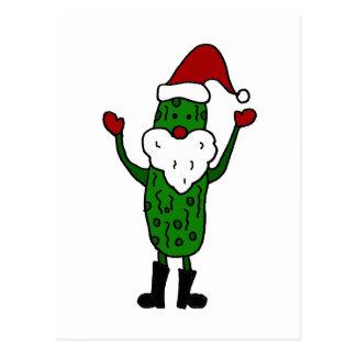 Funny Pickle Santa Claus Christmas Design Postcard