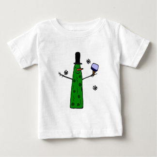 Funny Pickle Snowman Holding Pickleball Paddle Baby T-Shirt