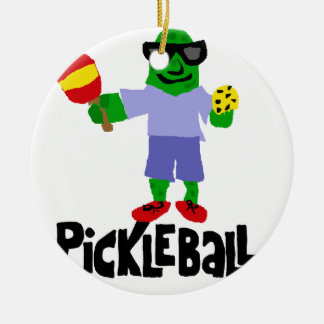 Funny Pickle with Pickleball Paddle Round Ceramic Decoration