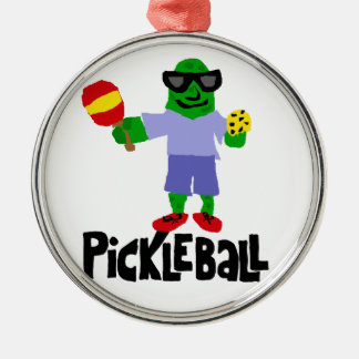 Funny Pickle with Pickleball Paddle Silver-Colored Round Decoration